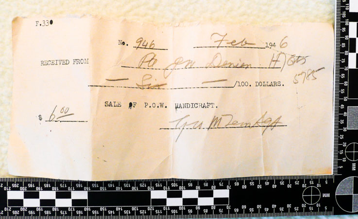 Receipt to a VGC member for PoW handicraft (Henderson Homefront Collection)