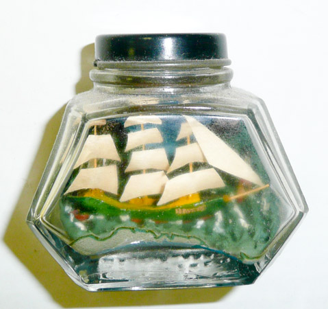 Ship in an ink bottle, made by a prisoner of war (Henderson Homefront Collection)